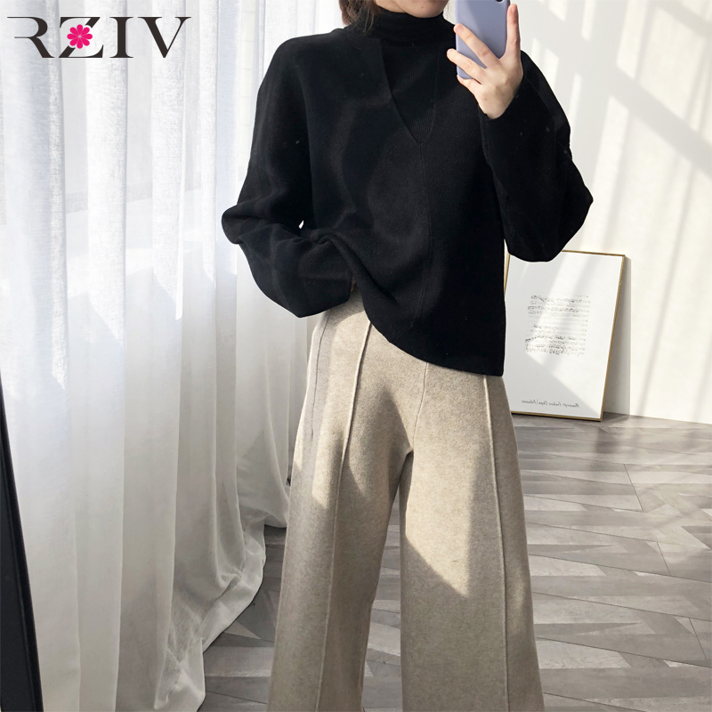 RZIV Spring Casual Sweater Female Solid Color V-neck Long-sleeved Sweater Loose