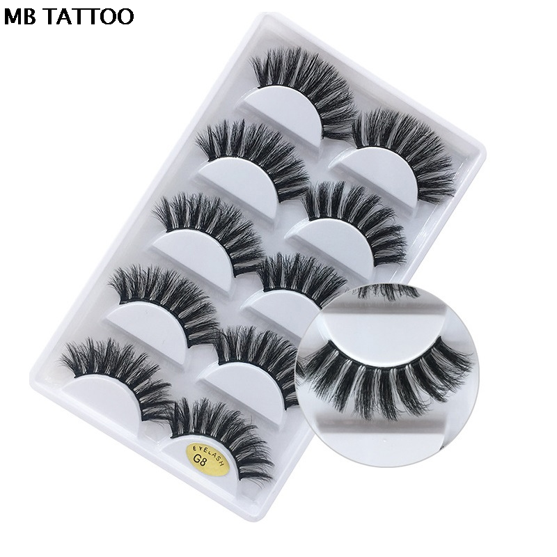 HTB1GRLBX0fvK1RjSspoq6zfNpXaO New 3D 5 Pairs Mink Eyelashes extension make up natural Long false eyelashes fake eye Lashes mink Makeup wholesale Lashes