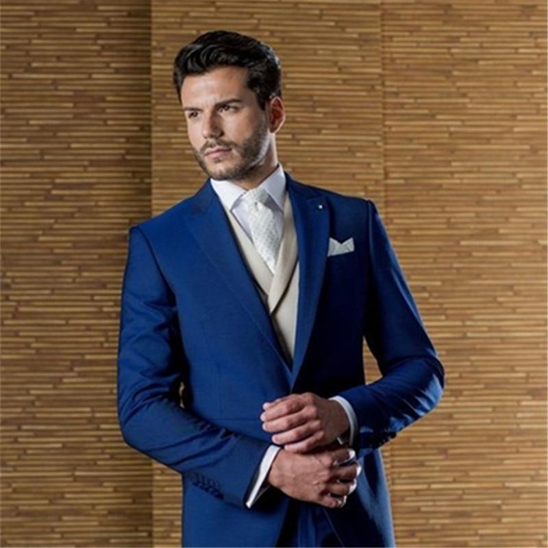 Blue Tailor Made Men Suit Terno Slim Fit Handsome Formal Blazer 3Pieces Wedding Custome Homme Tuxedos Jacket+Pant+Vest