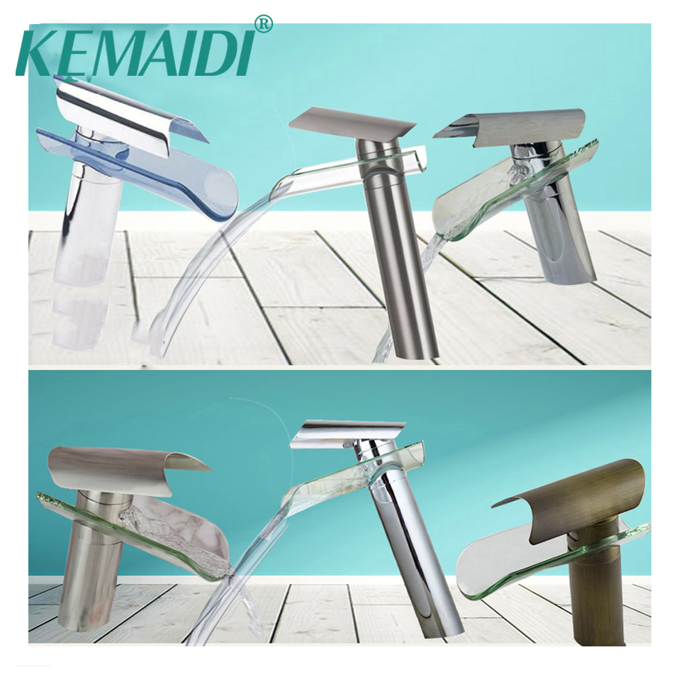 KEMAIDI Modern Chrome Finished&Nickel Brushed&Antique Brass Waterfall Bathroom Glass Faucet Basin Sink Faucets Tap Mixer kemaidi 3 pcs antique brass