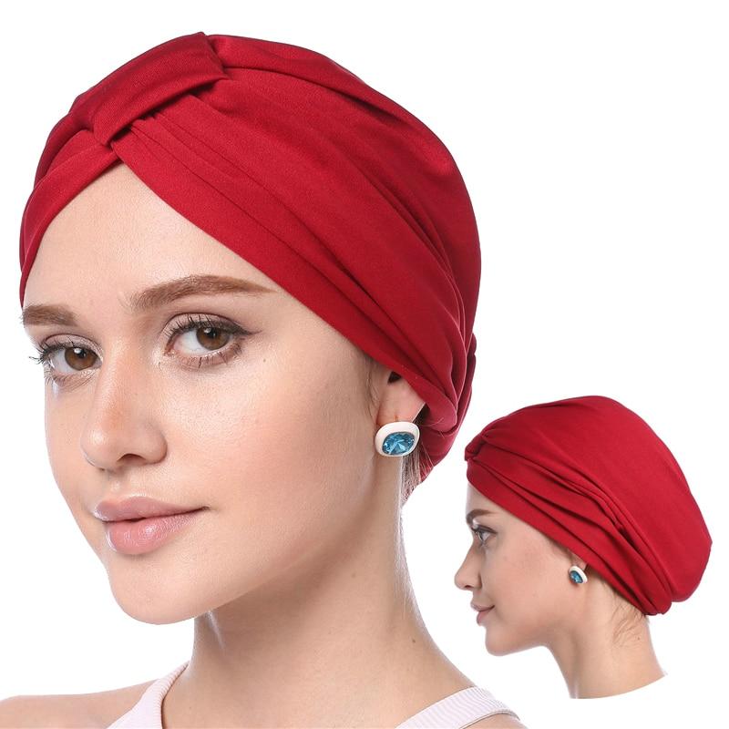 2019 Muslim Women Headscarf Hat Solid Modal Turban Caps Thin Summer Soft Elastic Inner Hijabs Bonnet Arab Wrap Turbante Mujer