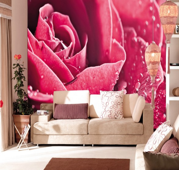 Custom 3D Photo Wallpaper HD Clear Blue Red Rose Art Living Room ...