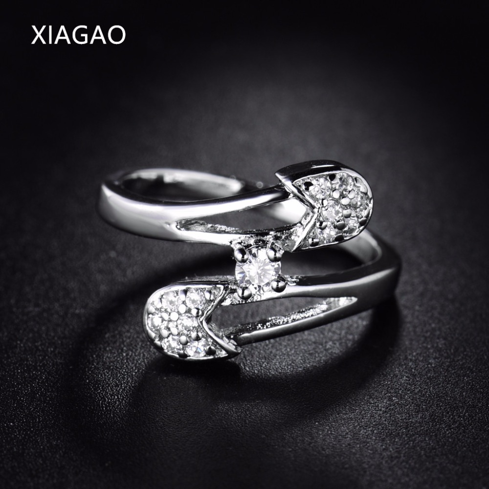 XIAGAO Retro Style Finger Ring Female Double Circle Rings for Women Ladies Silver Color Wedding Engagement Jewelry Ringen XGR196