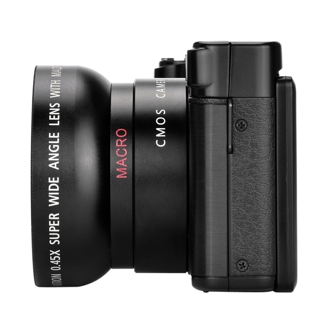 AMKOV CDR2 Digital Camera Video Camcorder with 3 inch TFT Screen with UV Filter 0.45X Super Wide Angle Lens