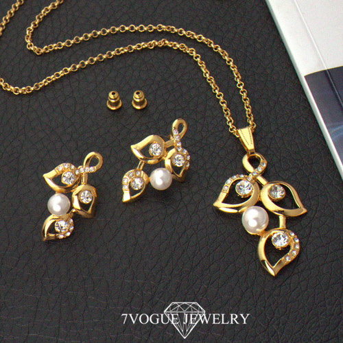 Pearl pendant necklace set images pearl pendant necklace set images u7 big size jewelry set yellow gold plated rhinestone leaves white aloadofball Gallery