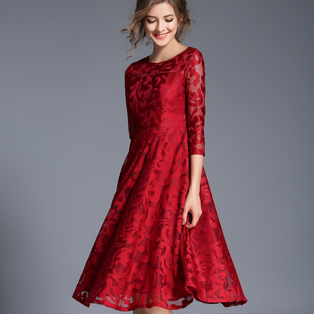 Autumn Lace Slim O-neck Sexy Hollow Out Blue Red Dress 3