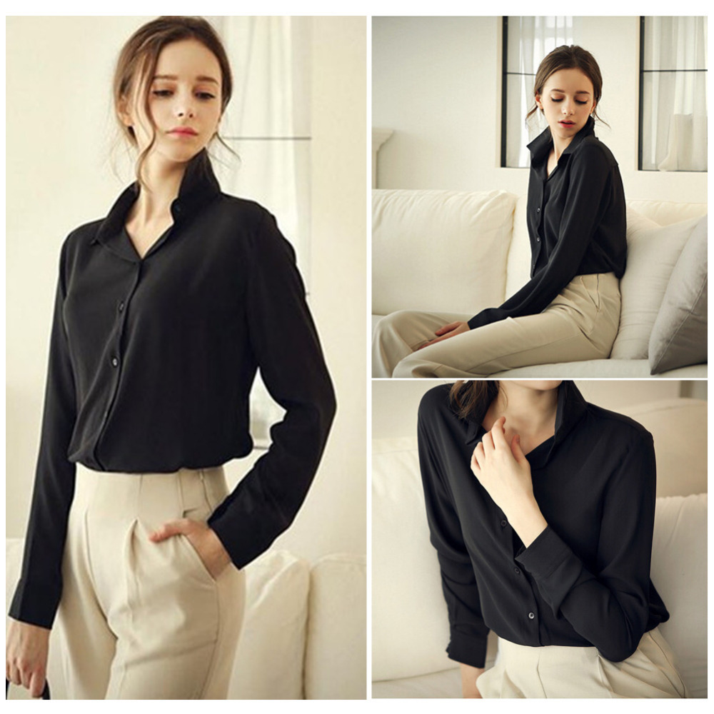 Women Blouses Direct Selling Button Solid 2016 Autumn New Long sleeve Shirt Female Chiffon Women s