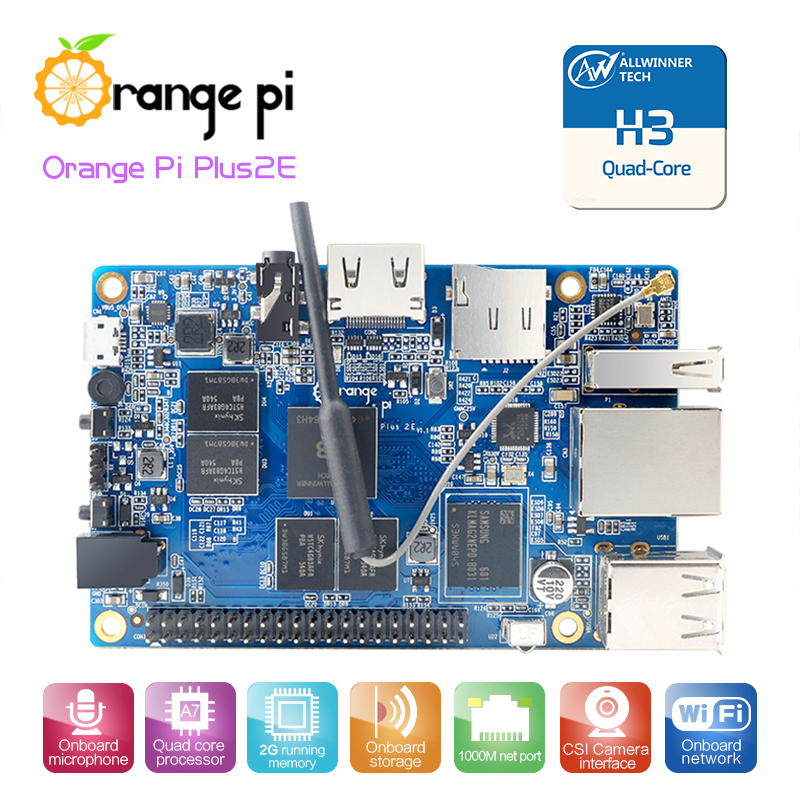 Orange Pi Plus 2 E H3 Quad Core 1.6GHZ 2GB RAM 4K Open-source development board beyond  raspberry pi 2 applicatori di etichette manuali