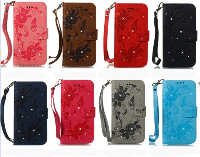 7c0917d226f LaMaDiaa Flower Diamond Flip Wallet Leather Case For iPhone 5S SE Card Slot Holder  Cover For