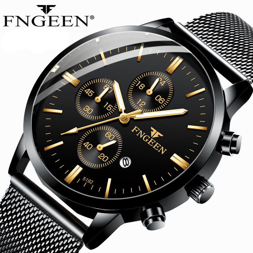 FNGEEN New Hot Sale Simple Watches Men Ultra-thin Steel Mesh Strap Wristwatch Student Waterproof Quartz Watch Relogio Masculino