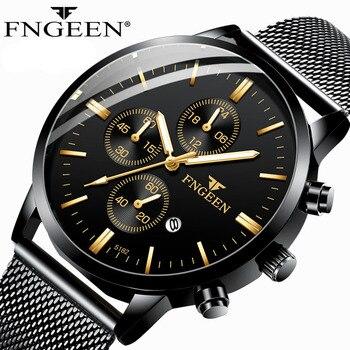 цена на FNGEEN New Hot Sale Simple Watches Men Ultra-thin Steel Mesh Strap Wristwatch Student Waterproof Quartz Watch Relogio Masculino