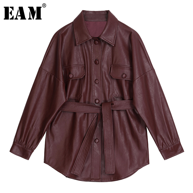 [EAM] 2020 New Spring Autumn Lapel Long Sleeve Wine Red Pu Leather Belt Loose Big Size Jacket Women Coat Fashion Tide JX453