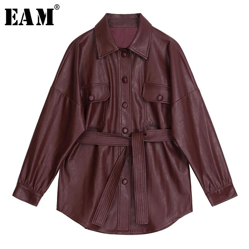 [EAM] 2020 New Spring Autumn Lapel Long Sleeve Wine Red Pu Leather Belt Loose Big Size Jacket Women Coat Fashion Tide JX453