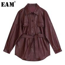 [EAM] 2021 New Spring Autumn Lapel Long Sleeve Wine Red Pu Leather Belt Loose Big Size Jacket Women Coat Fashion Tide JX453