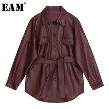 [Eem] 2021 yeni bahar sonbahar yaka uzun kollu şarap kırmızı Pu deri kemer gevşek büyük boy ceket kadın ceket moda gelgit JX453
