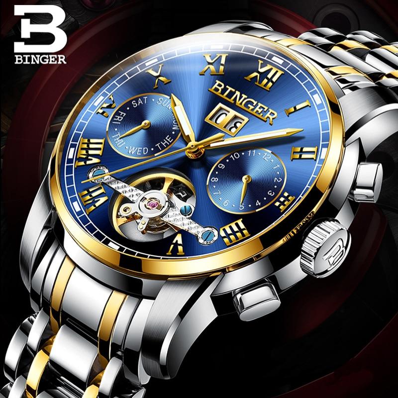 Switzerland BINGER Luxury Brand Mechanical Watch Men Sapphire Luminous Waterproof Watches Male Wristwatches relogio masculino