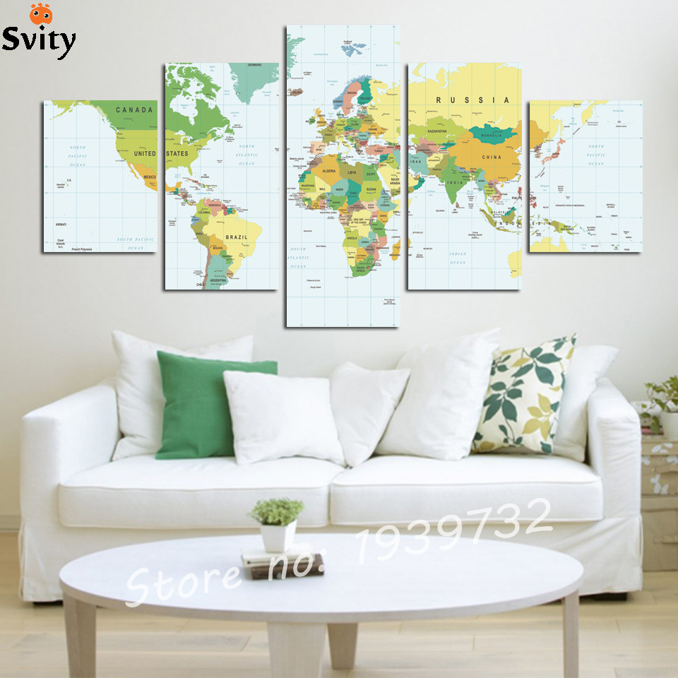 Aliexpress Com Buy Unframed 3 Panel Vintage World Map: Aliexpress.com : Buy 5 Panels World Map Canvas Painting