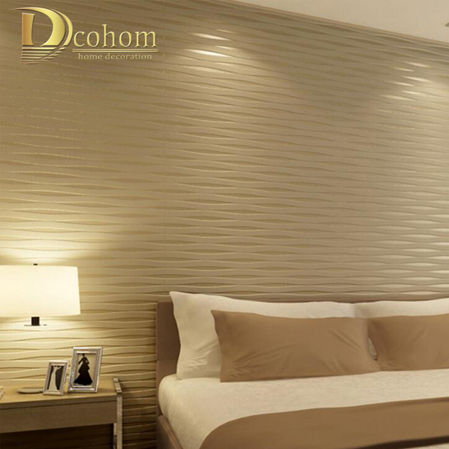 Buy 3d stereoscopic beige striped wall for Beige wallpaper living room