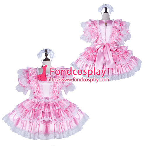 Sissy maid satin dress lockable Uniform cosplay costume Tailor-made[G2263]