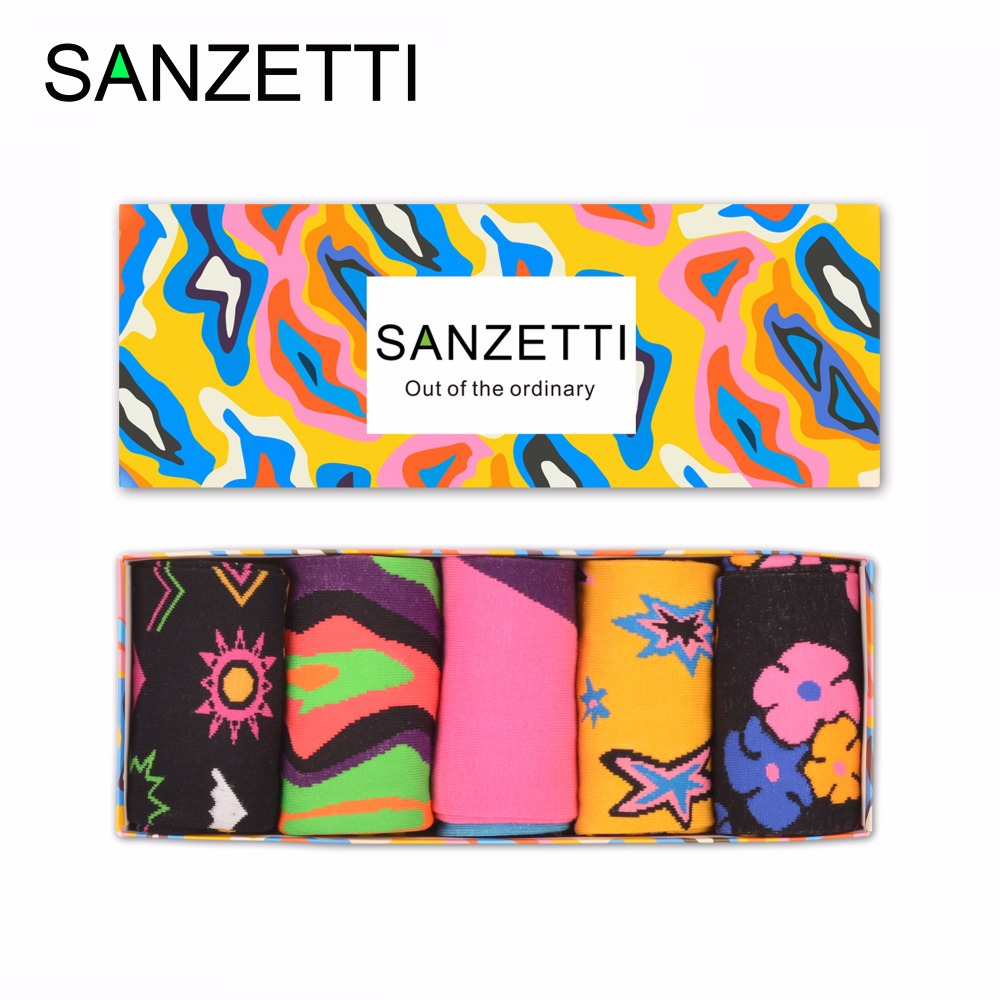 SANZETTI 5 pairs/lot Gift Box Mens Funny Combed Cotton Soft Comfortable Casual Socks Novelty Crew Colorful Sock Christmas Gift