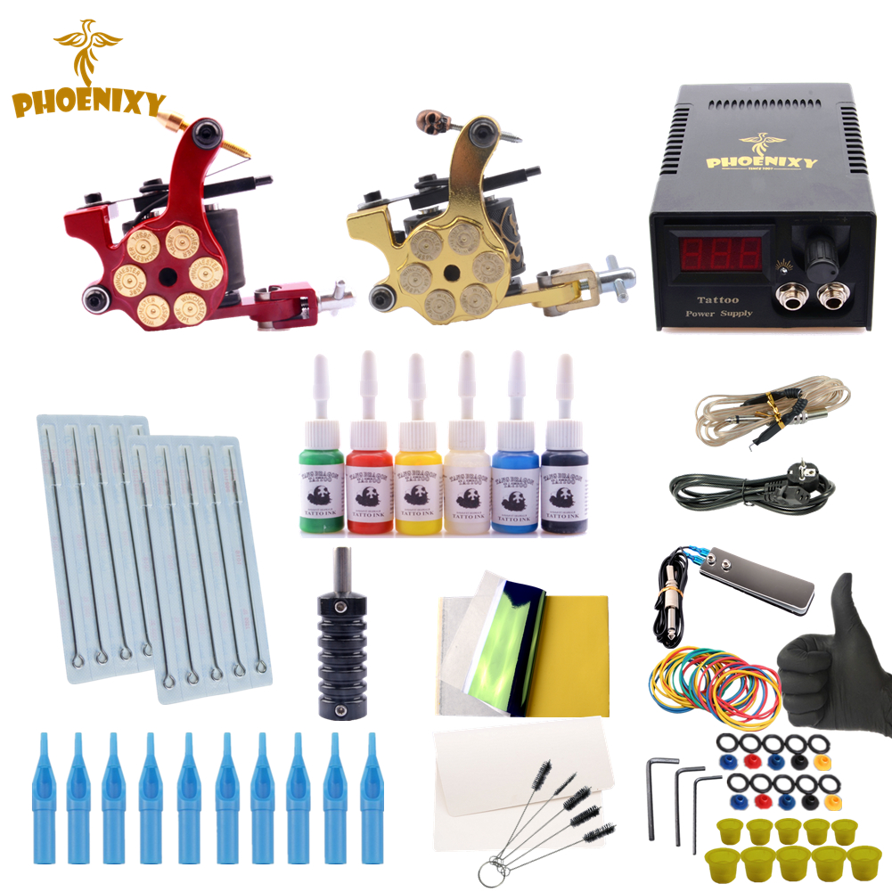 Phoenixy Starter Beginner Complete Tattoo Kit Professional Tattoo Machine Kit 6 Color Inks LCD Power Supply Grips Set