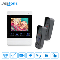 JeaTone 4 Inch TFT Wired Video Door Phone Intercom Doorbell Home Security Camera System Picture Memory
