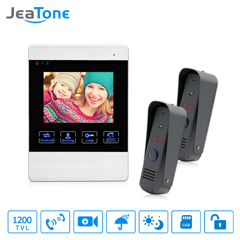 JeaTone 4 inch TFT Wired Video Door Phone Intercom Doorbell Home Security Camera System Picture Memory& Video Recording function jeatone 7 lcd monitor wired video intercom doorbell 1 camera 2 monitors video door phone bell kit for home security system