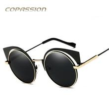 Óculos polarizados óculos de sol das mulheres designer de marca Retro Metal óculos de sol Do Olho de Gato Adulto Polaroid óculos redondos uv400 oculos de sol feminino