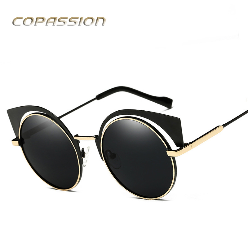 polarized sunglasses women brand designer Retro Metal Cat Eye sunglass Adult Polaroid round glasses uv400 oculos de sol feminino