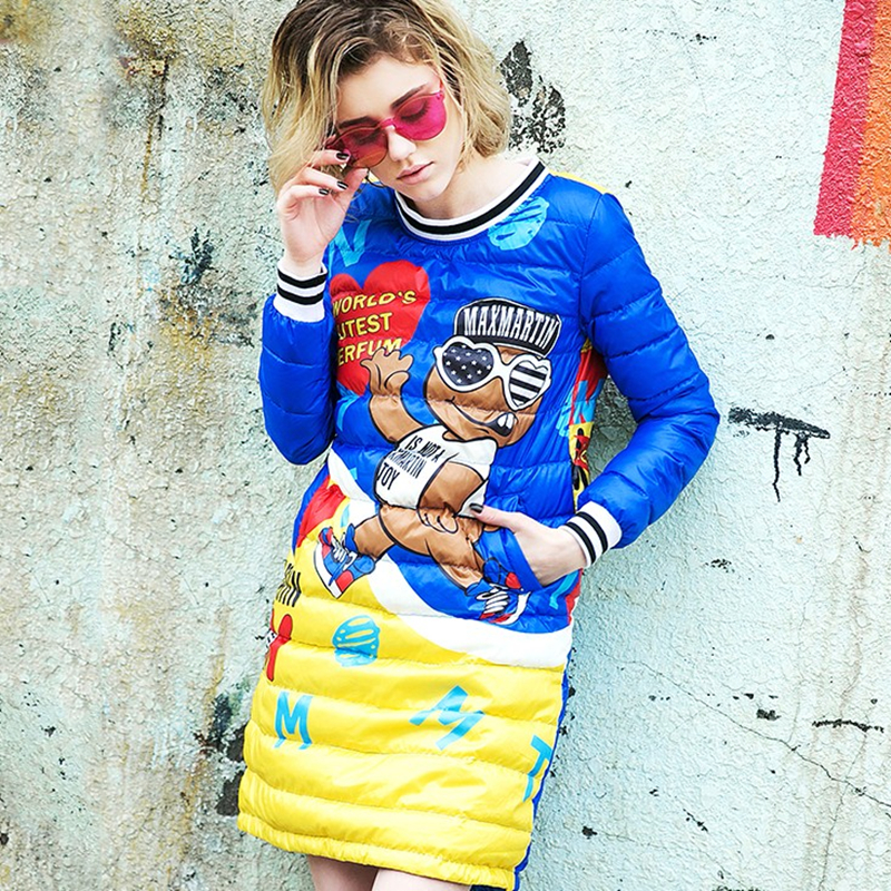 2018 Women Winter New Dress Down Jacket Cartoon Print Sweet Outerwear Waterproof Casual Loose Female O