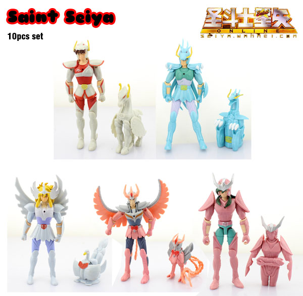 цены  Free Shipping 10pcs Anime Saint Seiya Shiryu Shun Hyoga Seiya Ikki PVC Action Figures Collection Model Dolls Toy (10pcs per set)