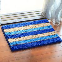 45*65CM Chenille Fabric Non Slip Striped blue colorful Carpet Absorbent Living Room Bathroom Mats Door Floor Toilet Rug Blankets