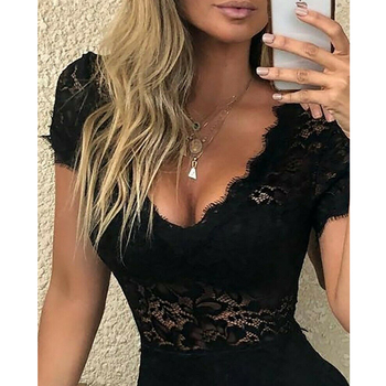 Sexy Women Floral Lace Playsuit Jumpsuit Summer Sexy V Neck Short Sleeve Slim Playsuits Rompers Lady Chic Party Bodycon Leotard 4