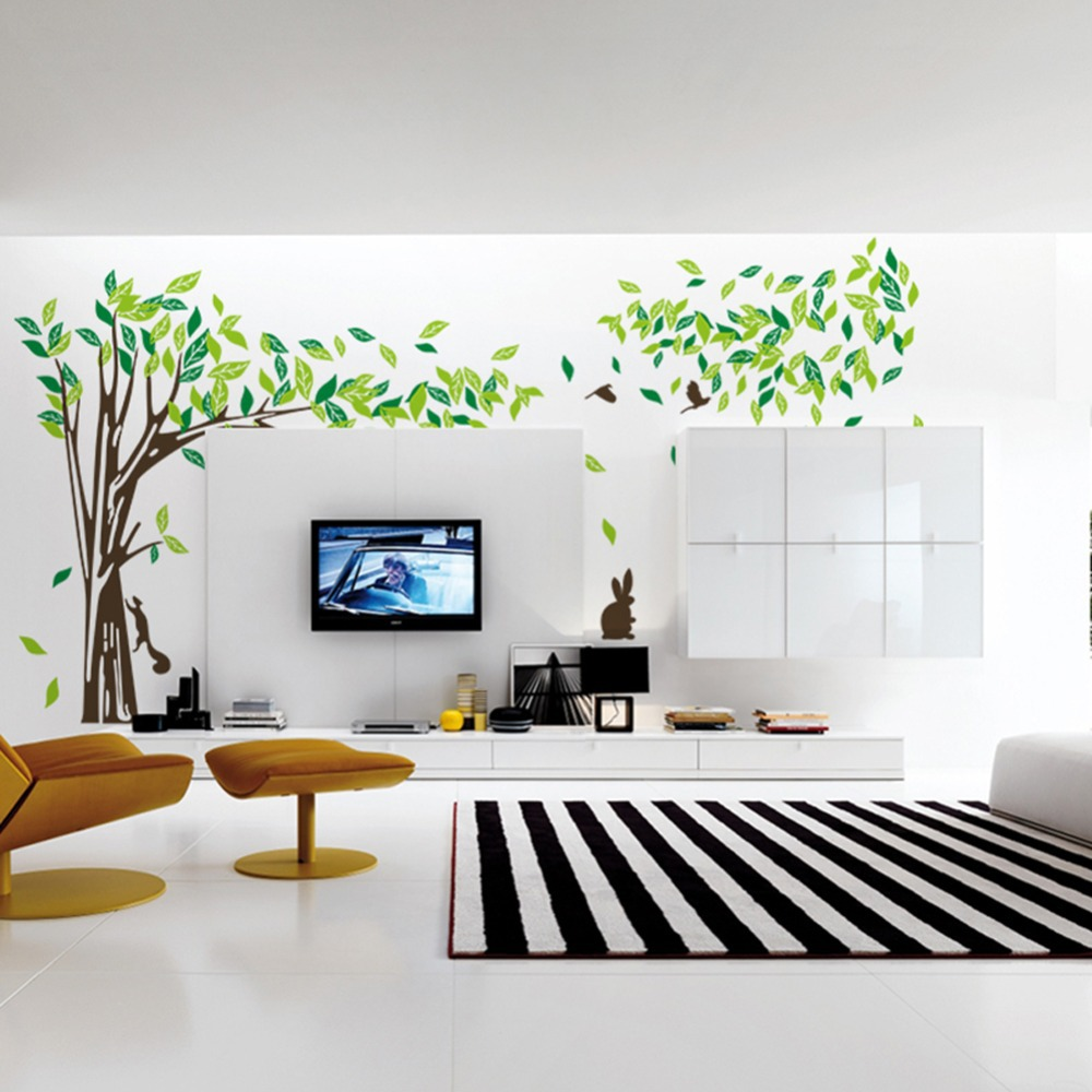 2017 Large Green Tree Wall Sticker Vinyl Removable Diy Room Home Decor Wall Stickers Decal Diy