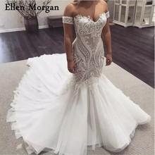 Elegant Mermaid Wedding Dresses 2019 Elegant Sexy Off Shoulder Lace Tulle Pattern Corset Custom Made Bridal