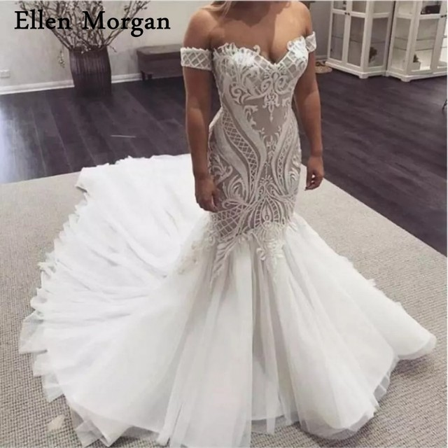 881df366a987d Elegant Mermaid Wedding Dresses 2019 Elegant Sexy Off Shoulder Lace Tulle  Pattern Corset Custom Made Bridal Gowns