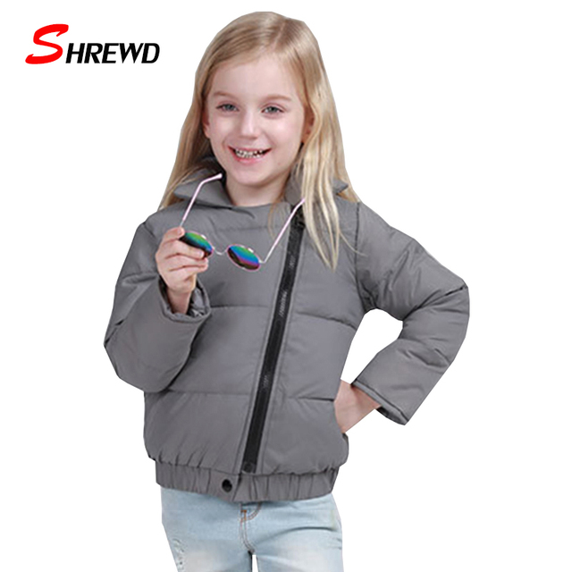Kids Girl Winter Jacket New 2017 Casual Solid Color Warm Girls Winter Coats Long Sleeve Zipper Simple Children Clothing 5539Z