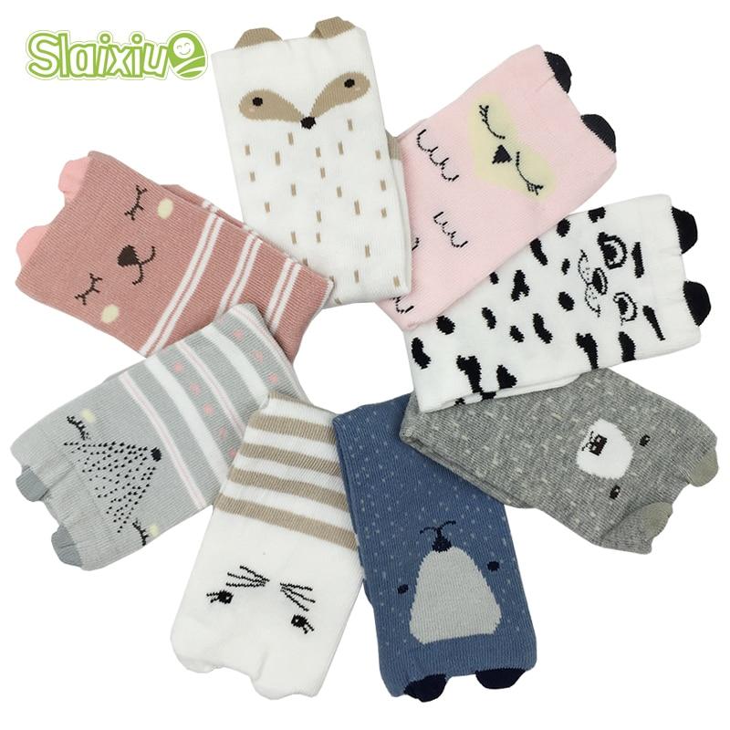 4 Pair/lot Brand Kids Socks Skid Boy&Girls Children's Baby Socks Fox Dog Cat 3D Warm Socks 8 Style For 1-6 Year