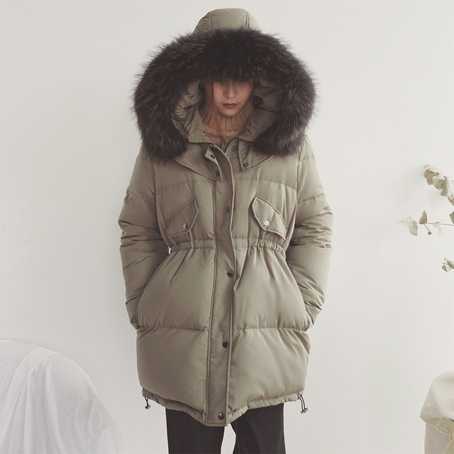 daf3c75bb4b9b Real Raccoon Fur Women Jacket with Hooded Down Plus Size Winter Cloak Coat  Womens Puffer Cape Long Green Woman Coats and Jackets
