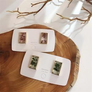 EARS HIGH 2019 Korean New Fashion Clear Dried Flower Square Stud Earrings For Women Cute Vintage Brincos Oorbellen Jewelry Gifts