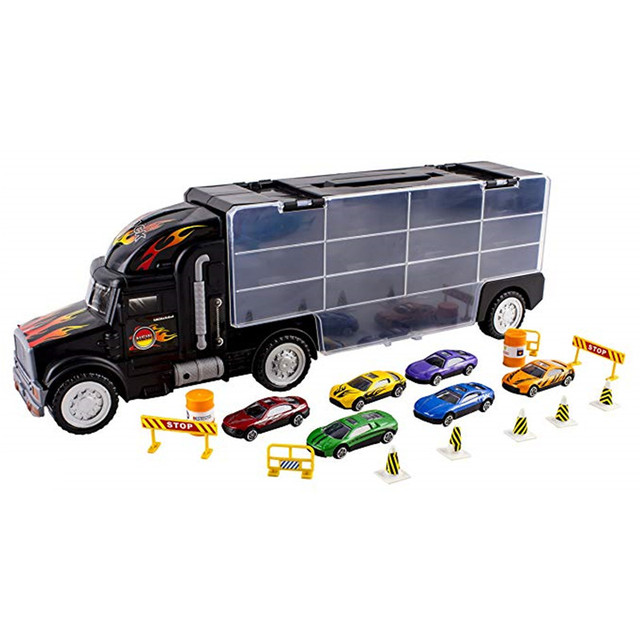 18 in 1 Child Toy Car Truck Set Diecasts and Toy Vehicles Educational 1:26 Transport Cars Carrier Toy For Children Boys