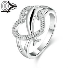 2016 New Arrival Silver plated Ring Silver Fashion Jewelry Women Gift Heart Dolphin Silver Finger Rings