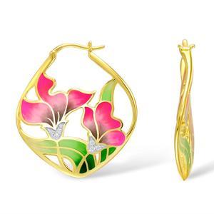 Image 3 - SANTUZZA Silver Earrings For Women 925 Sterling Silver Flower Dangle Earrings Gold Color Fashion Jewelry Handmade Enamel