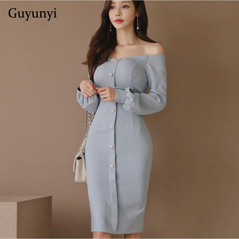 Autumn Sexy Off Shoulder Sheath Slim Dress Fashion New Women Blue Casual Party Knee-length Dresses Lantern Sleeve