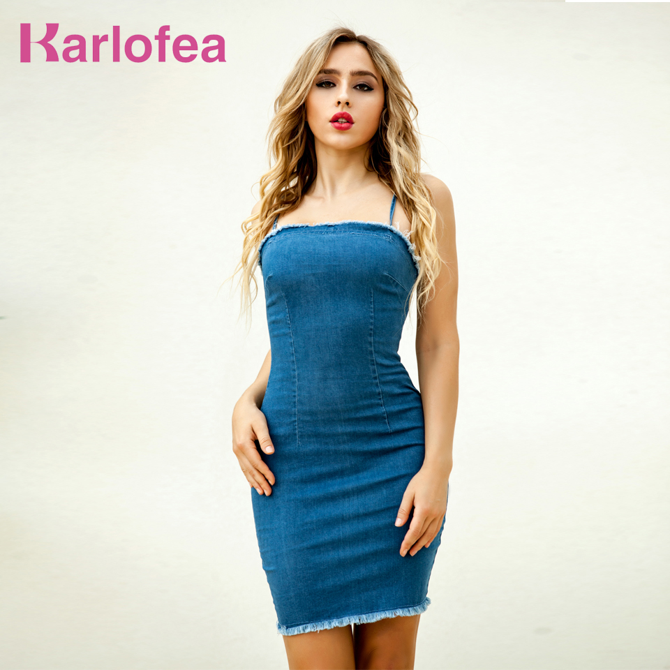 57563f08b Karlofea Musim Panas Tanpa Lengan Bodycon Gaun Mini Seksi Klub Pesta Pakaian  Jeans Pakaian Wanita Fashion
