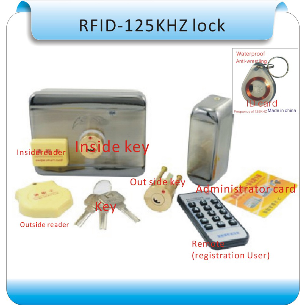 DIY access control Electric Lock, RFID125KHZ LOCK with Remote or administrator registration user+10pcs crystal keyfobs administrator