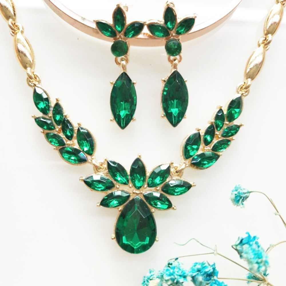 European American Fashion Women Green Stone Flower Necklace + Earrings Wedding Engagement Best Gift collares