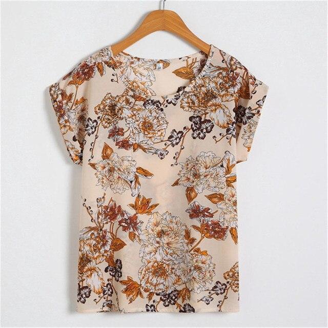 lollas New Summer Women Multicolor Chiffon Blouse Print O-neck Short Sleeve Shirt Top Lady Casual  Blusas M-4XL