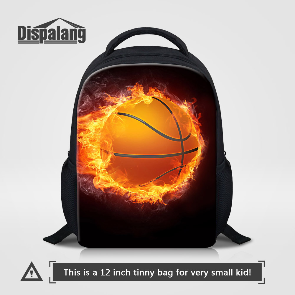 Dispalang Cool Basketballs Print School Bags For Boys Kids Daily Shoulder Bag 12 Inch Small Rucksack Children Baby Sporty Rugzak
