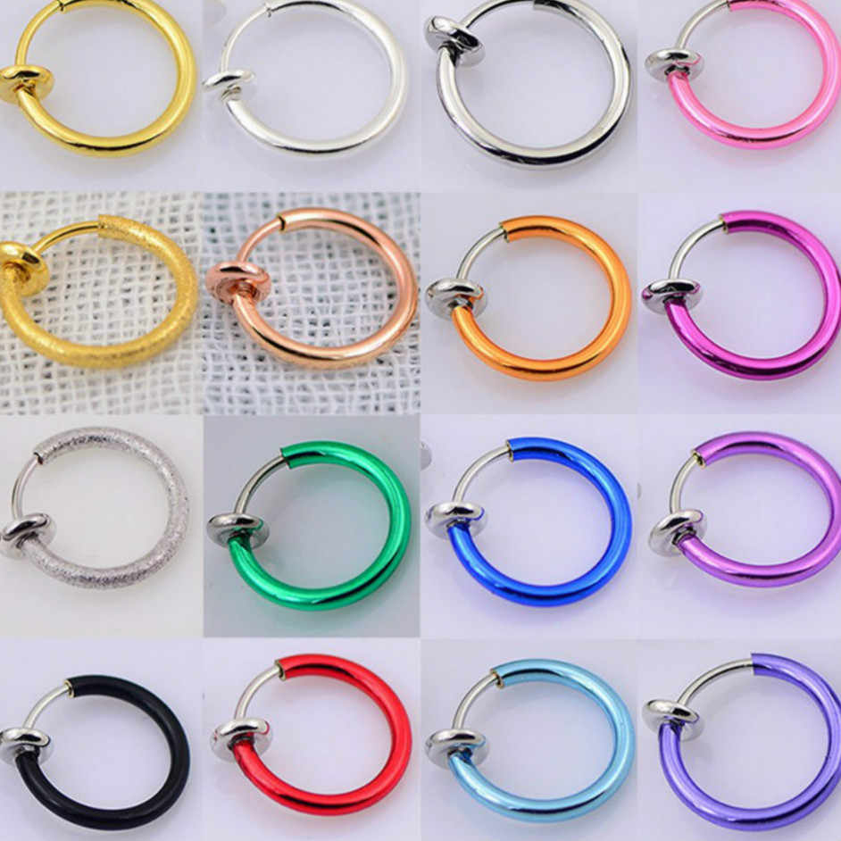 1 ชิ้นขายจมูกแหวน Goth Punk Lip หูคลิปจมูกปลอม Septum แหวนจมูก Hoop Lip Hoop แหวนต่างหู